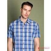 短袖純綿休閒襯衫 夢特嬌藍色寬格紋