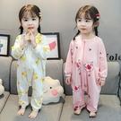 女童連體衣女寶寶秋季寬鬆休閒睡衣三歲兒童秋天純棉防踢家居服