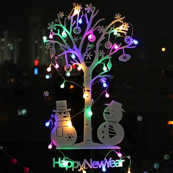聖誕裝飾品 DIY墻面樹 創意發光聖誕樹玻璃貼墻貼 聖誕節裝飾套餐 夢幻衣都