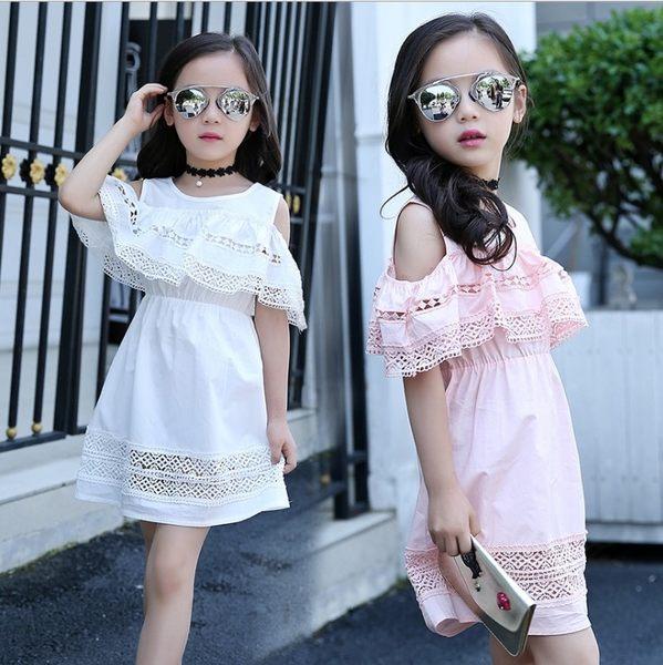 衣童趣 ♥韓版氣質 蕾絲露肩 連身裙 簍空花邊 甜美公主裙 正式場合 渡假 女童洋裝