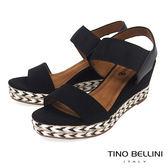 Tino Bellini 混搭異材質跳色麻編楔型涼鞋_ 黑 F83011