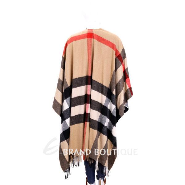 BURBERRY 格紋喀什米爾羊毛流蘇斗篷(駝色/100%CASHMERE) 1710486-02