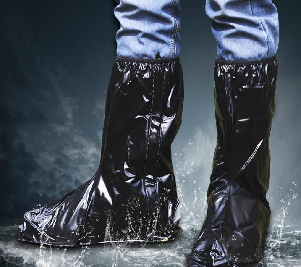 Qmishop 雨鞋套 鬆緊帶重覆用高筒防水鞋套 靴袋 透明款【J1172】