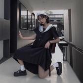 日系洋裝 海軍領洋裝夏日系復古寬松百搭暗黑時尚短袖ins中長裙女學生