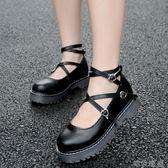 娃娃鞋 英倫學院小皮鞋女厚底軟妹洛麗塔繫帶圓頭單鞋娃娃鞋原宿淺口女鞋 唯伊時尚