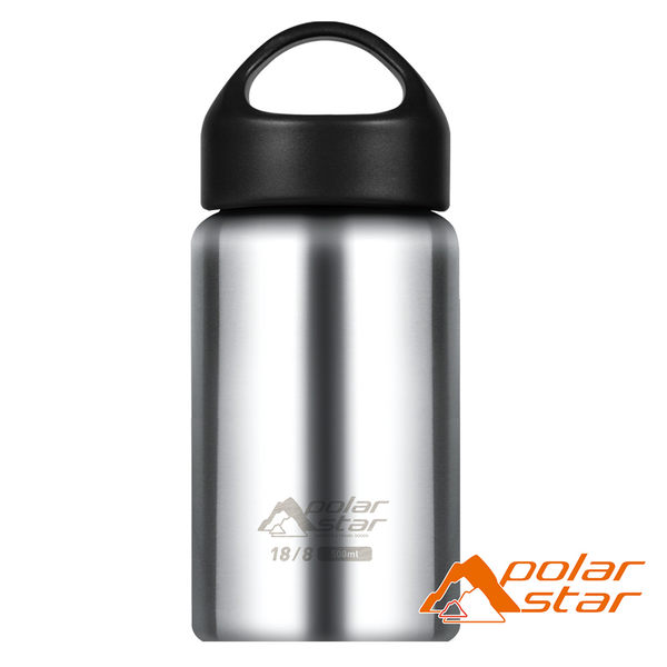 PolarStar 冷熱兩用保溫水壺 350ml『原色鋼』 寬口水壺│不鏽鋼水壺│保溫杯 (非kk水壺) P16754