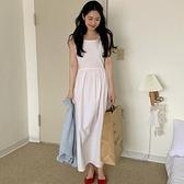 洋裝 韓系春夏寬鬆無袖背心高腰綁帶連身長裙 花漾小姐【預購】