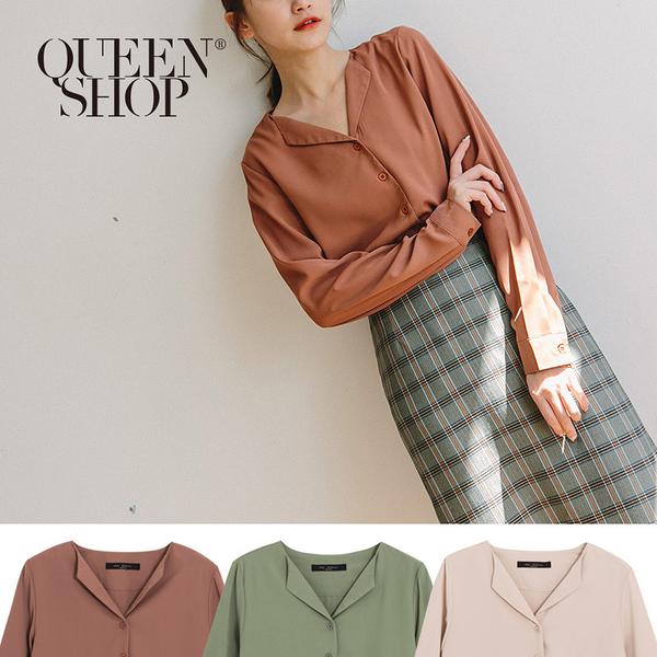 Queen Shop【01023503】小V領質感雪紡襯衫 三色售*現+預*