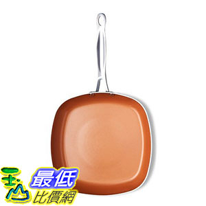 [8美國直購] 不沾鍋 Gotham Steel 1735 Copper Square Shallow Pan with Super Nonstick Ti-Cerama Coating, 11 Inch