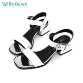 Bo Derek 方頭踝帶低跟涼鞋-白色