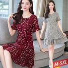 紅白點花串小荷袖洋裝(2色)M~5XL【...