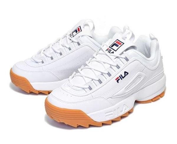 FILA 中性款白色鋸齒厚底增高復古休閒老爹鞋 4C113T119