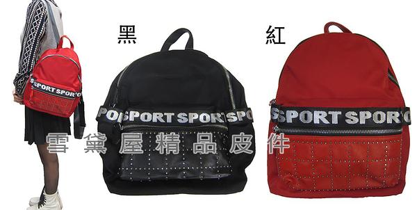 ~雪黛屋~COUNT 後背包中型容量層進口防水尼龍布+皮革材質主袋內二拉鍊暗袋BCD50002001200