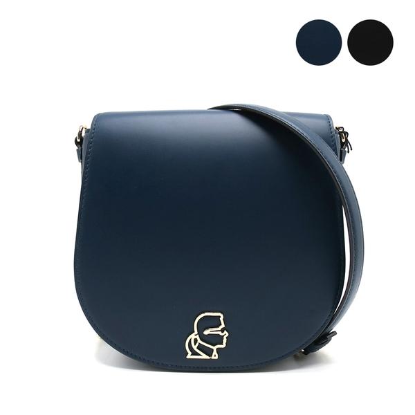 【台中米蘭站】全新品 KARL LAGERFELD 浮雕銀LOGO牛皮馬鞍/斜背包 (黑/藍)