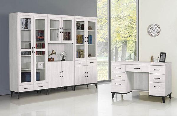 【森可家居】北歐刷白2.6尺四門書櫃 7SB244-2 開放書櫥 收納 木紋質感 MIT 台灣製造