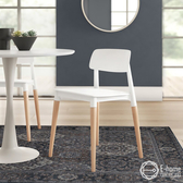 E-home Fido菲朵北歐實木腳造型餐椅-兩色可選白色