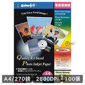 COLORJET RC高級超光澤亮面相紙 270gsm A4 100張 艷彩 CS-270L 相紙 270磅 日本相紙