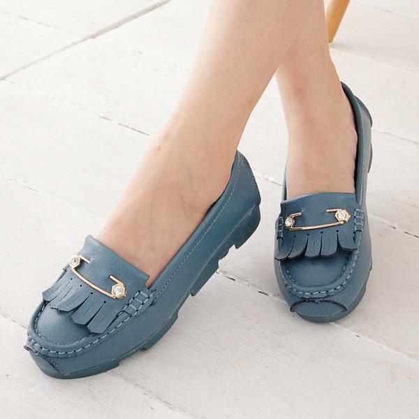 包鞋 真皮大版流蘇舒適平底包鞋 香榭