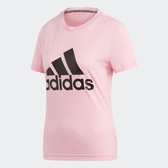 Adidas W MH BOS TEE [DZ0014] 女 運動 休閒 圓領 短袖 上衣 舒適 棉T 愛迪達 粉紅