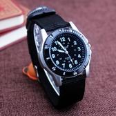 手錶流行男錶復古指南針帆布手錶戶外運動防水石英電子手錶中學生男孩腕錶正韓