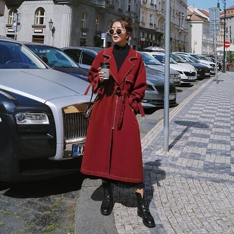 風衣外套 韓系紅色修身中長款外套大衣 花漾小姐【現貨】