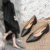 2019潮百搭瓢鞋女春黑色皮鞋女空姐工作鞋職業平底小跟單鞋女3cm 萊俐亞