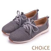 CHOiCE 率性休閒 牛仔布拼接牛皮綁帶休閒鞋-灰色