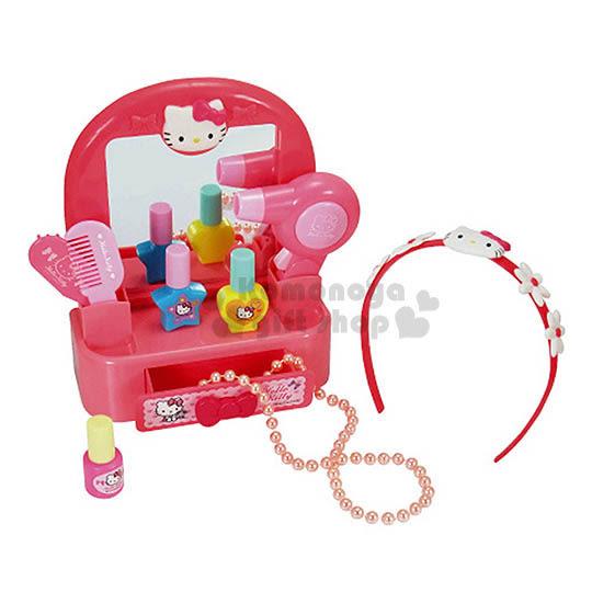 〔小禮堂嬰幼館〕Hello Kitty 梳妝台玩具組《粉盒裝.大臉.花髮箍》適合3歲以上兒童 4978902-00394