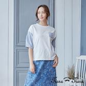 【Tiara Tiara】寬版拼接五分袖純棉上衣(白/藍)