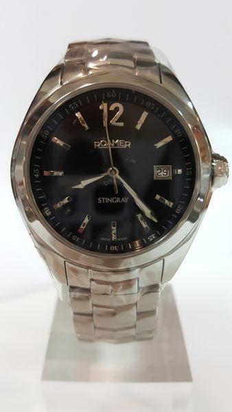 ROAMER-黑面銀框銀字鐵鍊錶