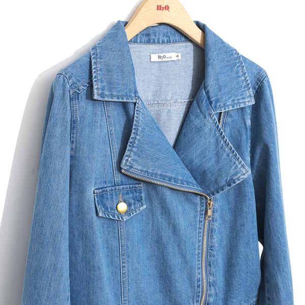 秋冬販促[H2O]水洗牛仔百搭騎士風短版外套 - 粉卡/淺藍色 #9663003