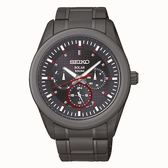 SEIKO Criteria 活力休閒風格太陽能男腕錶/黑面黑鋼/41mm/V14J-0CD0SD(SNE355P1)