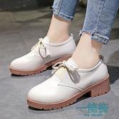 618大促鞋子秋天女百搭韓版英倫風冬季加絨單鞋小皮鞋學生韓版兒