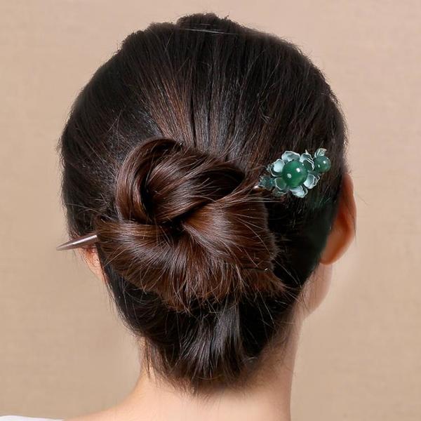 木髪簪簡約現代釵日常頭飾盤髪髪釵木質簪子花復古步搖古風髪飾女 髪插