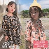 女童洋裝 抽象圖案磨毛連身裙 QB allshine