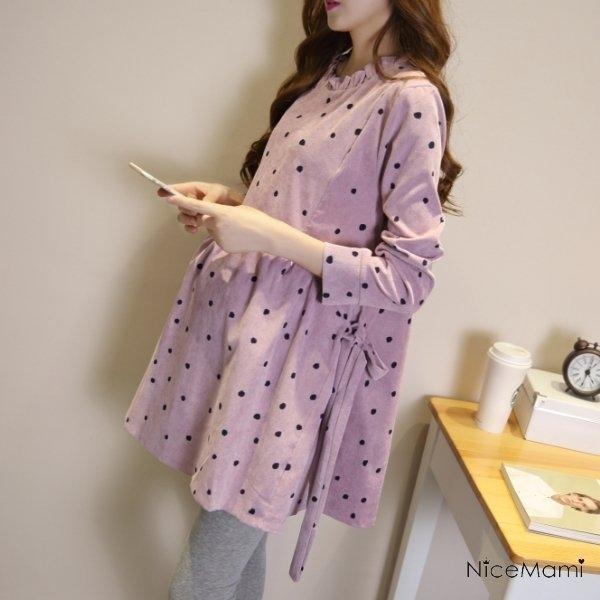 漂亮小媽咪 韓系洋裝 【D3488】 點點 保暖 燈芯絨 長袖 傘狀 寬鬆 孕婦裝 孕婦裙 孕婦洋裝