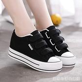 秋季新款厚底內增高帆布鞋女鞋魔術貼百搭學生鞋黑色小白鞋子