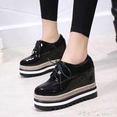 厚底內增高鬆糕鞋女冬單鞋坡跟高跟黑色加絨小皮鞋子  潔思米