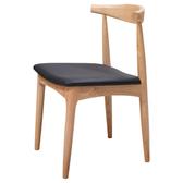 原木日式和風梣木實木圓弧靠背PU坐面餐椅-黑色坐墊-兩入組