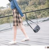 《CA1765-》溫暖毛呢格紋拼接網紗裙擺鬆緊長裙 OB嚴選
