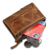 皮夾 瘋馬牛皮男士錢包 短款防RFID盜刷零錢包男 雙拉鏈錢夾 生日禮物【萬聖節推薦】