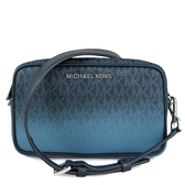 MICHAEL KORS Connie 銀字滿版MK皮革滾邊寬帶雙層相機包 斜背包(藍漸層)-35S9SI7M1V
