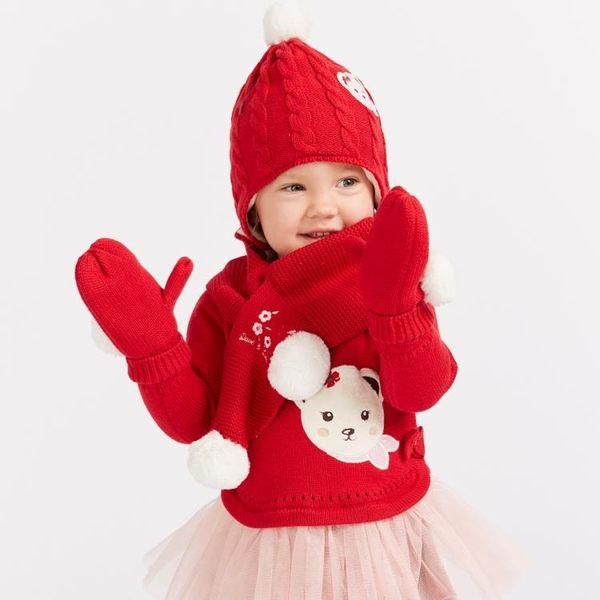 davebella戴維貝拉2019冬季新款寶寶加絨連指針織手套DBJ7862-2