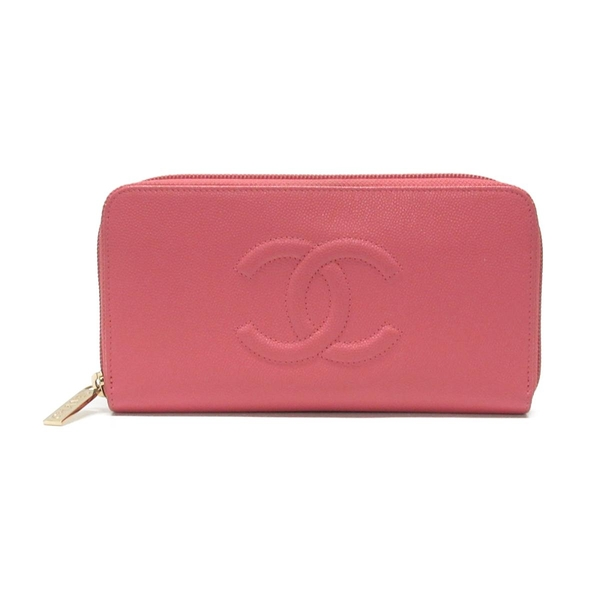 CHANEL 香奈兒 粉色牛皮ㄇ字型拉鍊長夾 Timeless CC Long Zipped Wallet【BRAND OFF】