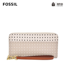 FOSSIL LOGAN 多層真皮拉鍊RFID防盜長夾-杏色愛心斑點 SL7828745