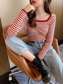 針織衫 春秋洋氣條紋針織衫方領修身打底衫短款內搭上衣毛衣女裝 裝飾界 免運