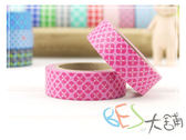 紙膠帶-和紙膠帶變化型格紋 粉紅花