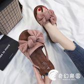 拖鞋-新款時尚百搭平底人字網紅半拖鞋穆勒外穿外出夾腳沙灘涼鞋女-奇幻樂園
