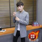 秋冬季新款男士外套中長款風衣加厚韓版修身帥氣夾克男裝 青山市集