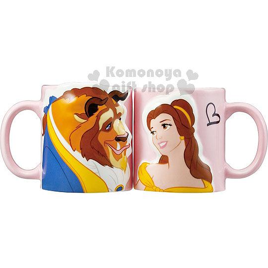 〔小禮堂〕迪士尼 美女與野獸 馬克杯對杯組《粉.野獸.貝兒.對看》 4942423-23644